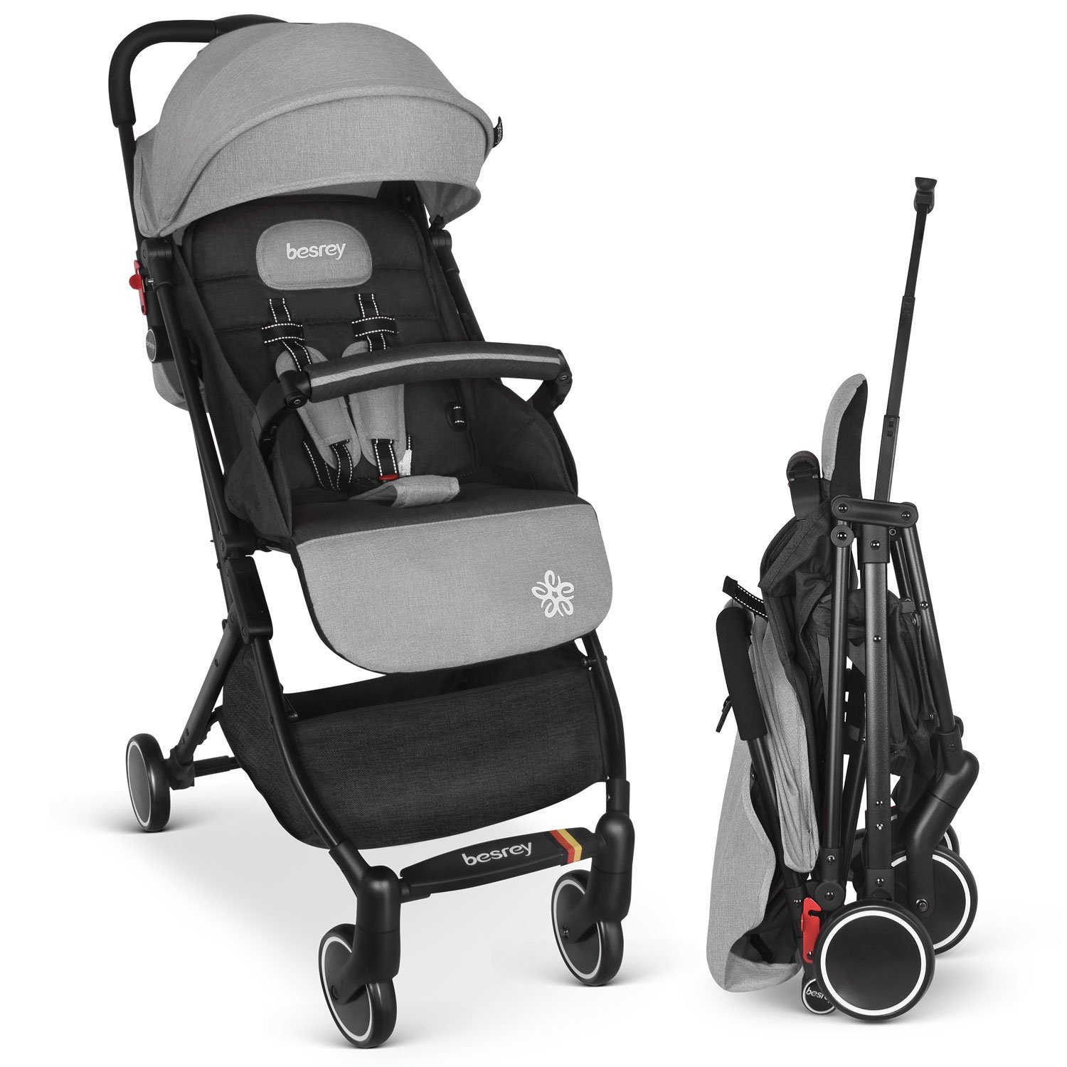 Besrey Baby Stroller Pram Baby Carriage Baby Pushchair Suitable for Airplane - Gray