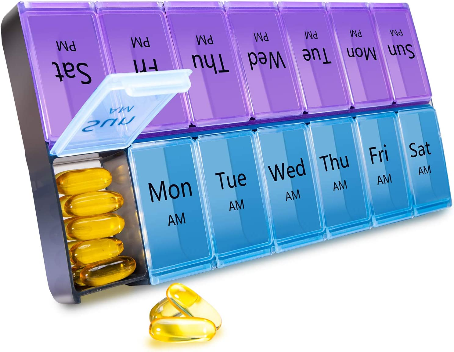 7 Days AM PM Pill Organizer-Large Weekly Pills Case, BPA-Free Pills Box Container Cases, Morning and Night Pill Boxes with Huge Compartments Design to Hold Vitamin, Medicine (Purple-Blue)
