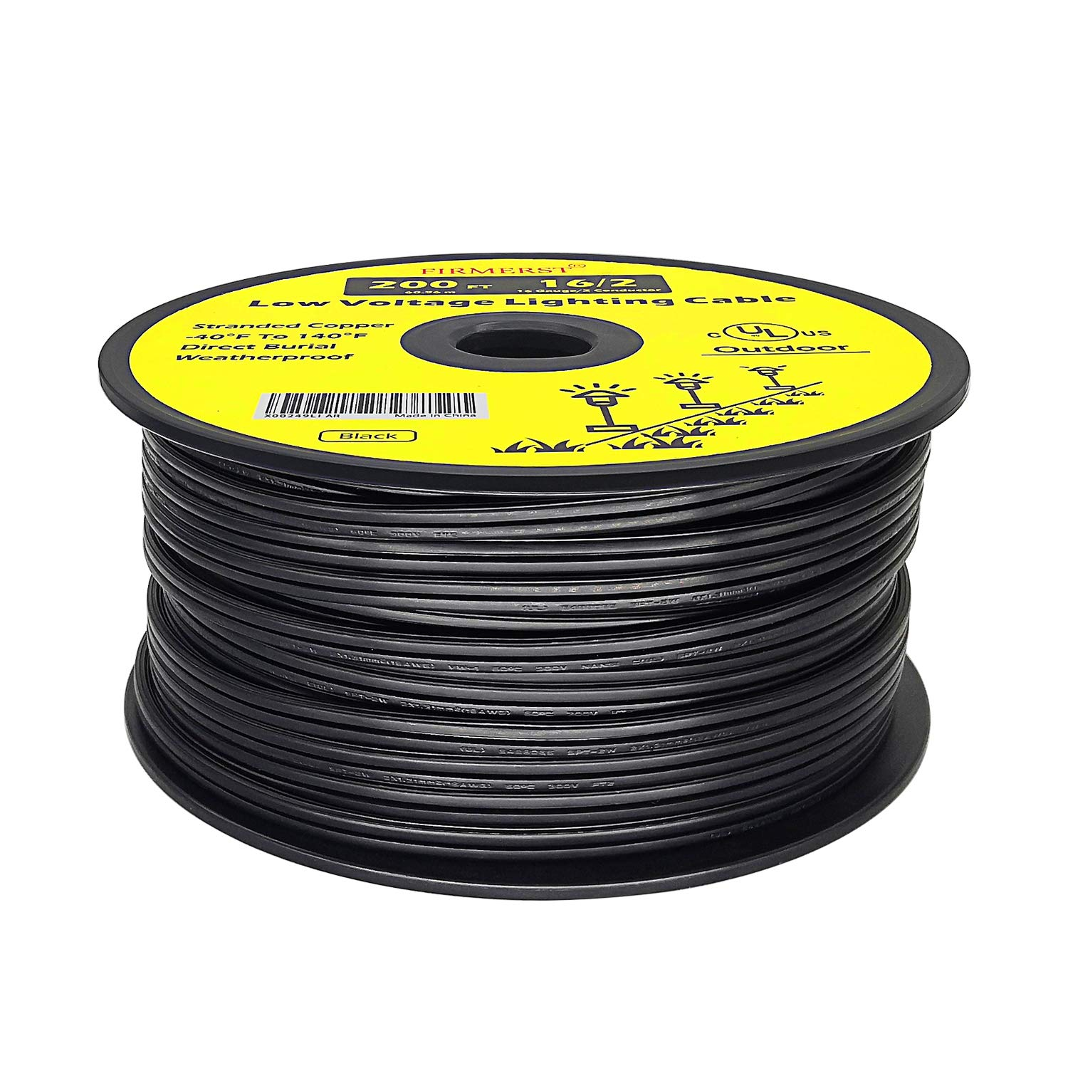FIRMERST 16/2 Low Voltage Landscape Wire Outdoor Lighting Cable UL Listed 200 Feet