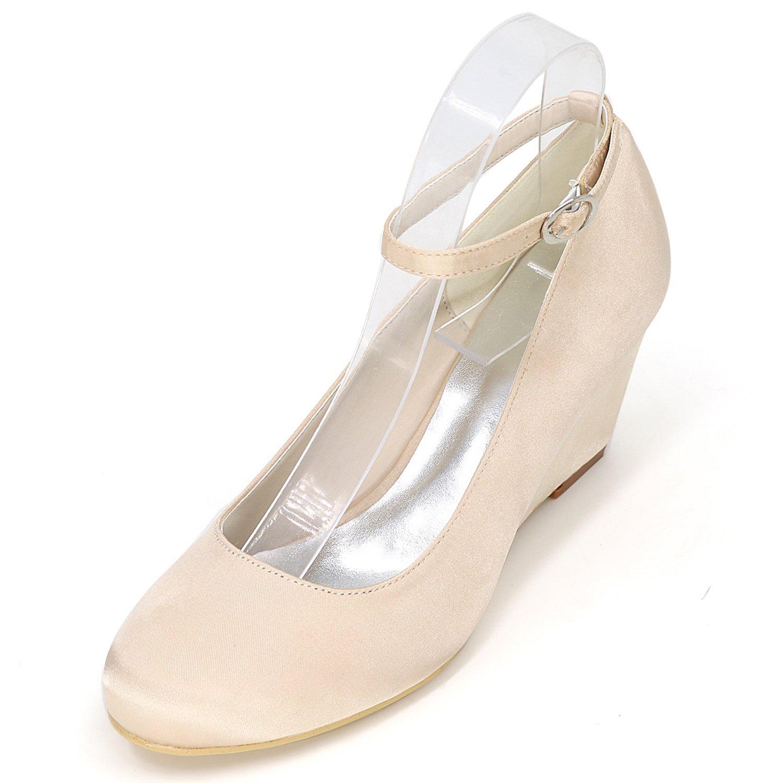 Elobaby Zapatos De Boda De Las Mujeres Sandalias De SatéN De Marfil Blanco Closed Toe Ribbon Plataforma Nueva/6.5cm TalóN 37 EU|Champagne