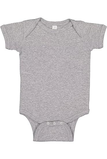 718a1c636 Rabbit Skins Infant 100% Cotton Baby Rib Lap Shoulder Short Sleeve Bodysuit  (Heather,
