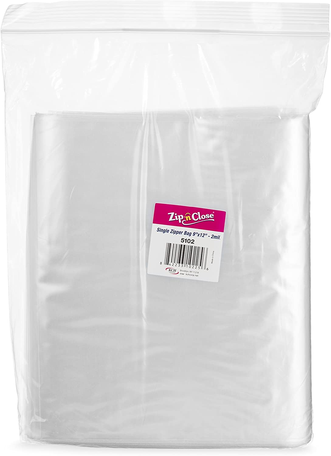 "[200 Bags 9"" x 12""] Zip'n'Close Disposable Plastic Resealable Reusable Bags, 2 Mill Thick, Great for Home, Office, Vacation, Traveling, Sandwich, Fruits, Nuts, Cookies, Or Any Storage Needs (2 Packs)"