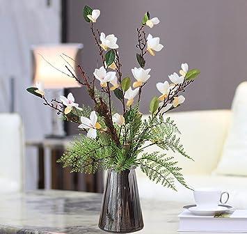 WRXXHZHR Künstliche Blume Keramik Magnolia Wohnzimmer Set Dekoration Weiß