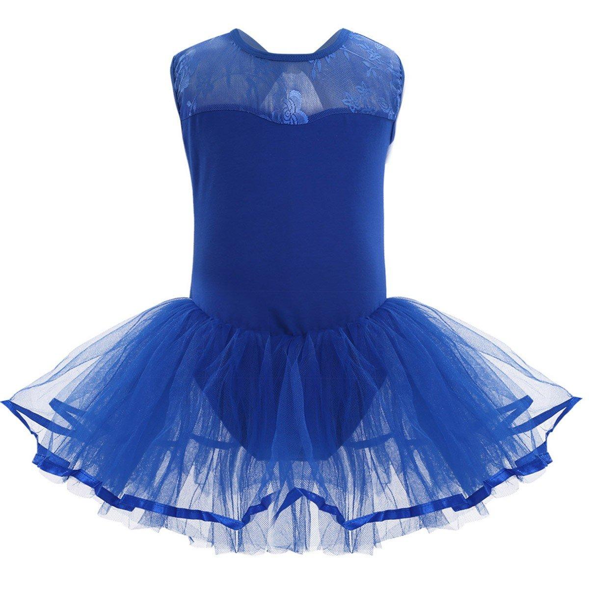 Tiaobug Kinder Ballettanzug für Mädchen - Ballettkleid Ballett Trikot Kleid Röckchen mit innenslip Blau, Rosa, Lavender
