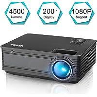 505e11662f Vidéoprojecteur, WiMiUS Vidéo Projecteur 4500 Lumens Full HD Supporte 1080P  Rétroprojecteur LED Projecteur Home Cinéma