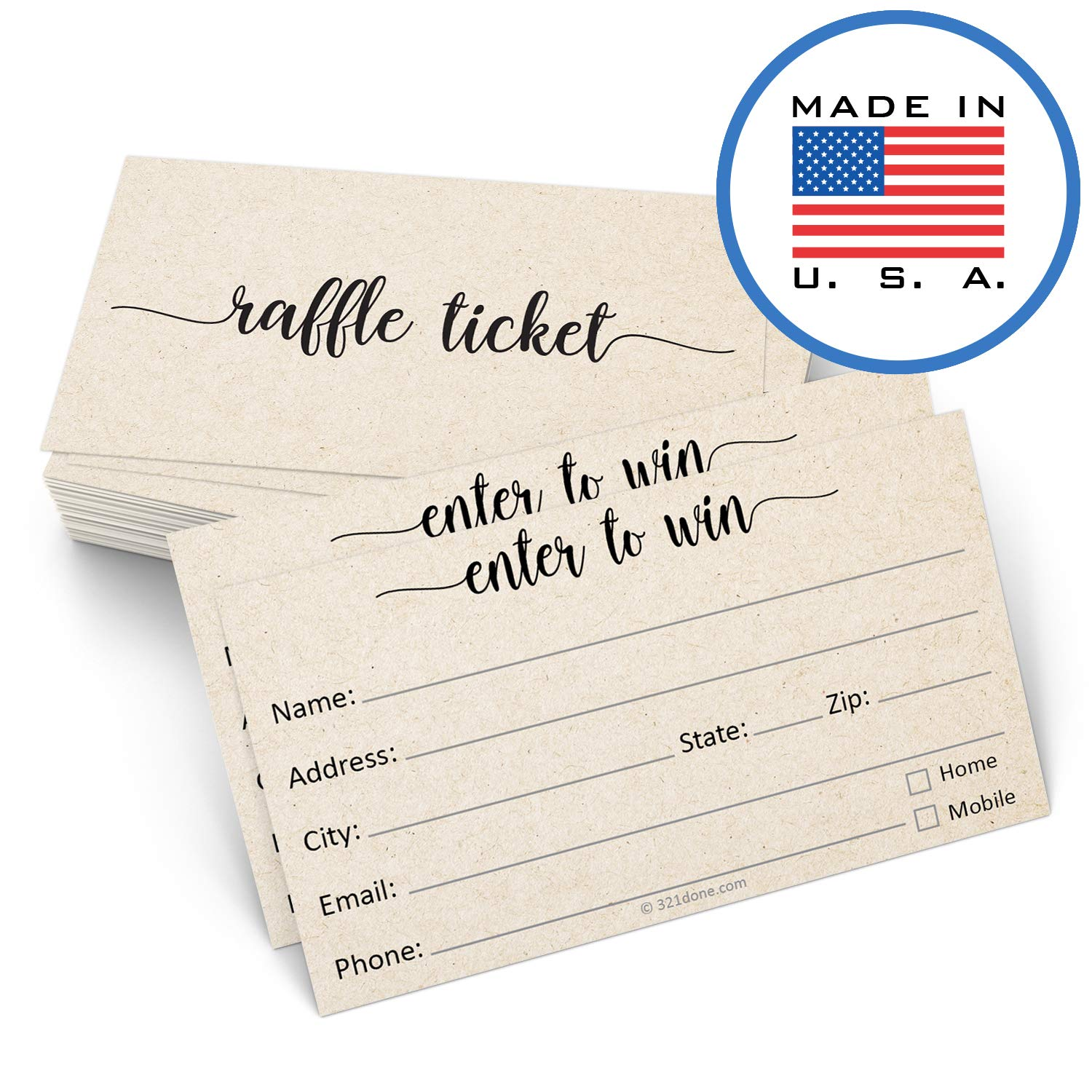 321Done Raffle Tickets with Name Address Phone Email (50 Cards) 3.5'' x 2'', Enter to Win Entry Form for Contests, Drawings, Raffles, Lotteries Prize Game, Tan Kraft Color