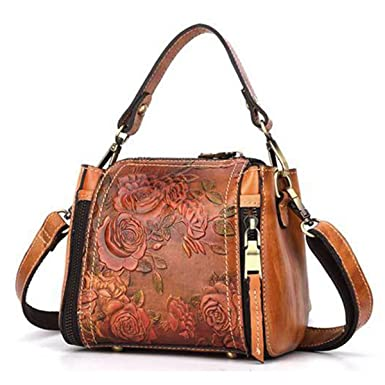 a13f557cc5 Top Handle Satchel Handbags, JOSEKO New Retro Genuine Leather Bucket Handbag  Hand Embossed Craft Flower