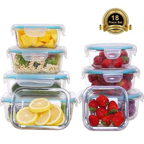 d1ea465cb64 Amazon.com  AILTEC 18 Piece Glass Food Storage Containers