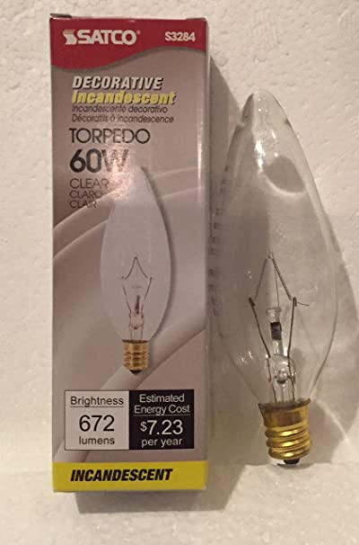 2 reg REPLACEMENT BULBS FOR SATCO S3293 60W 120V Clear Torpedo Standard Base
