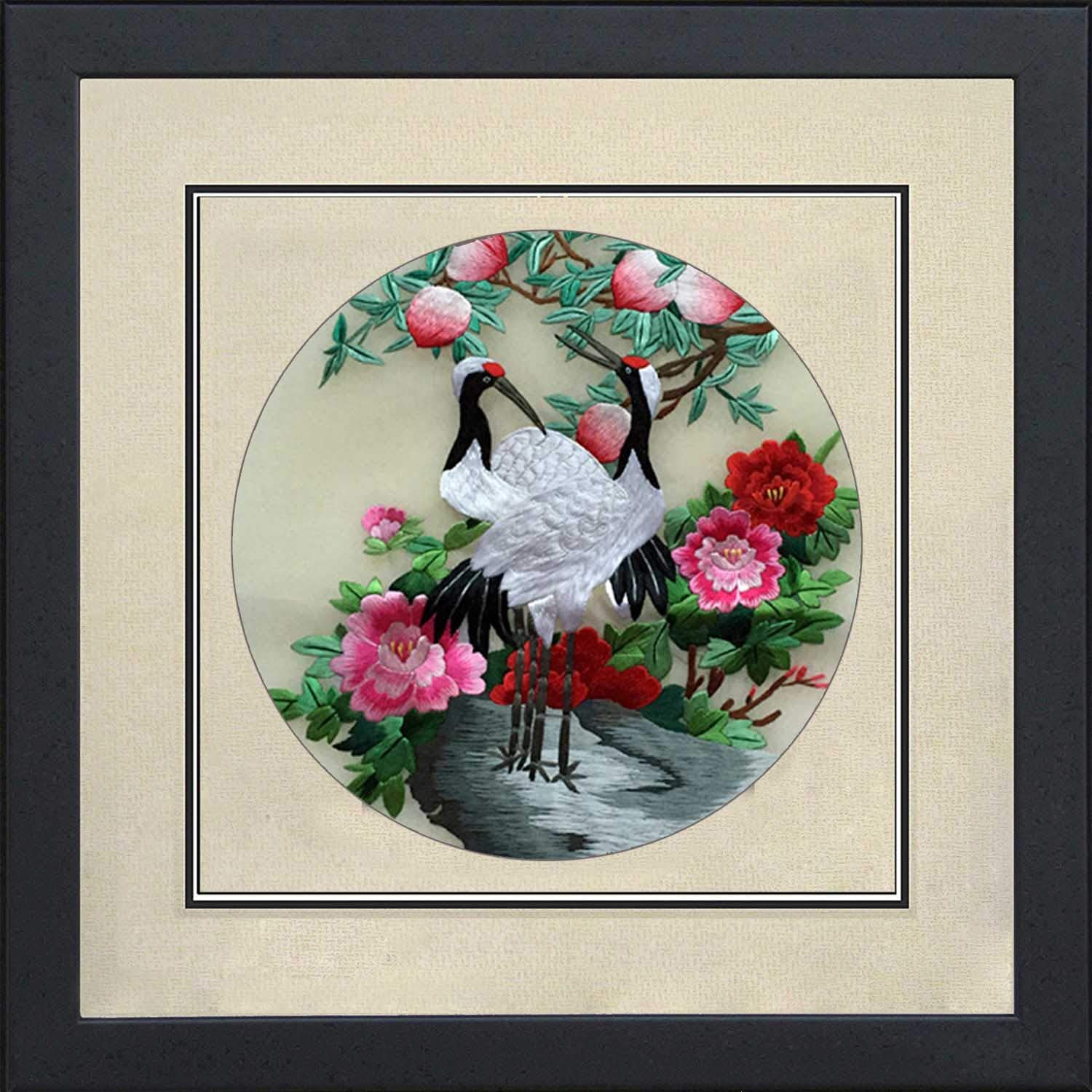Silk Art Pure Handmade Silk Thread Embroidery Framed Wall Decor 13*13Inch , Pine Trees and Blessing Cranes Painting, Fashion Creative Furnishing Oriental Asian Feng Shui Wall Art 31011WF