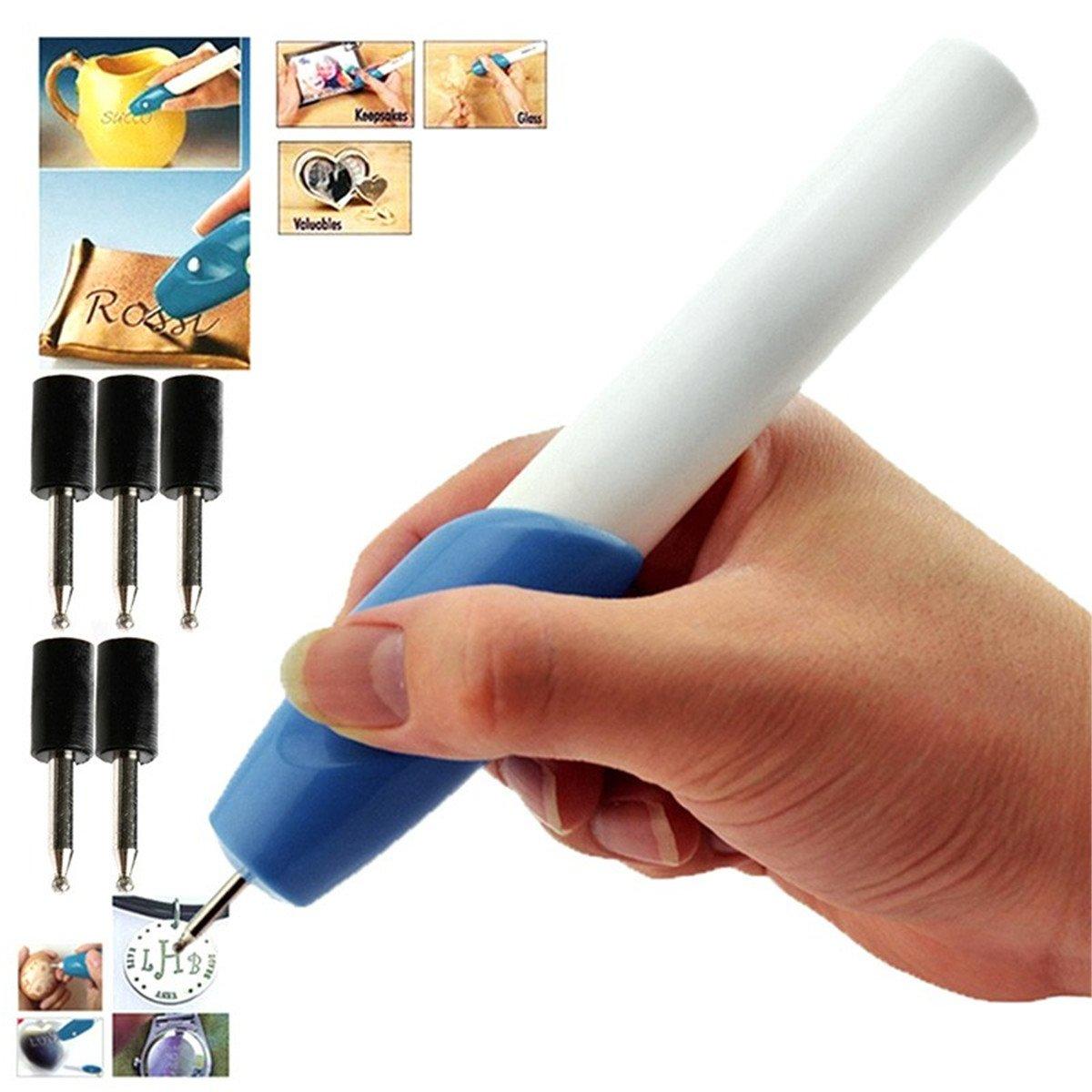 Mini stylo-graveur é lectrique automatique, deux pointes, ustensiles d' é cole, outil de cré ation, outil de gravure, gravure de bijoux, bleu foncé , 2 pointes ustensiles d' école outil de création bleu foncé SZH-POD