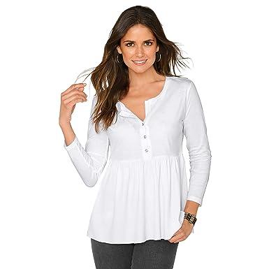 VENCA Camiseta Escote Redondeado con Abertura y Botones de Brillante Mujer b - 018456: Amazon.es: Ropa y accesorios