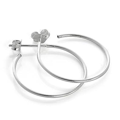 Sterling Silver Hoop Stud Earrings 24, 30, 40 & 50mm Large Square Edge 925 Hoops