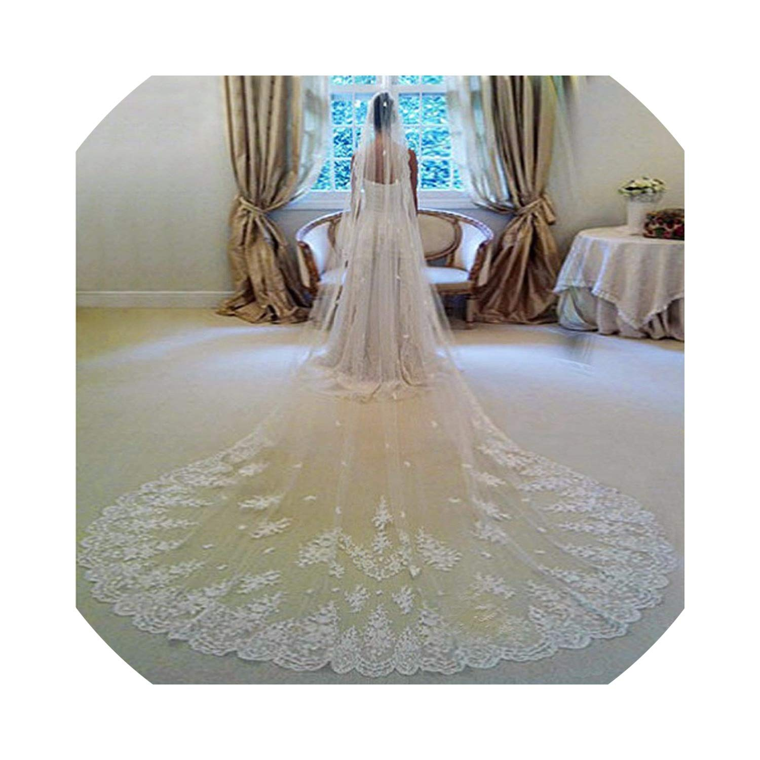 4 Meters Long Wedding Veil Bridal Veils White/Ivory Lace Edge With Comb,White,350cm