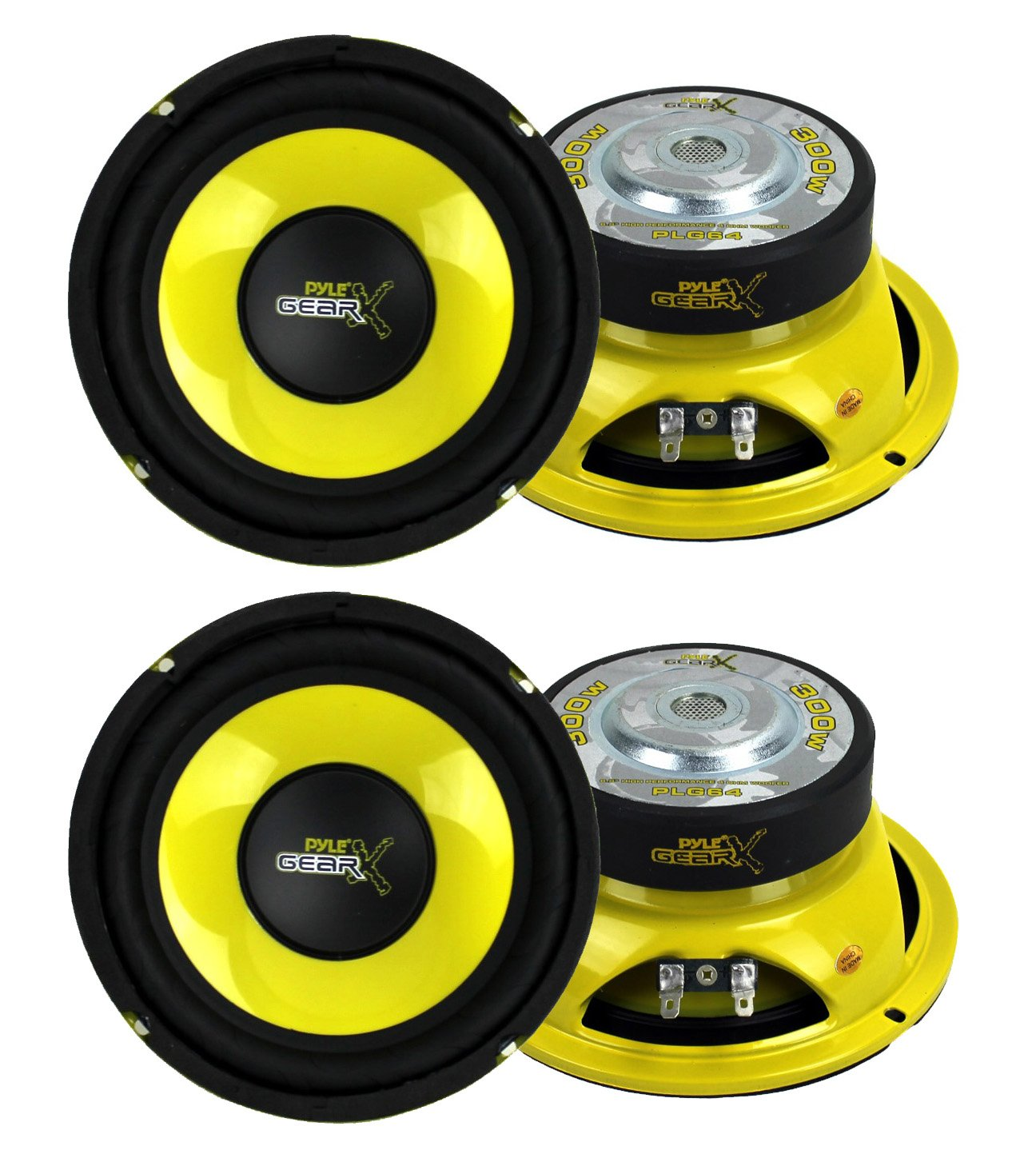 4) Pyle PLG64 6.5'' 1200 Watt Car Mid Bass/Midrange Subwoofers Sub Power Speakers