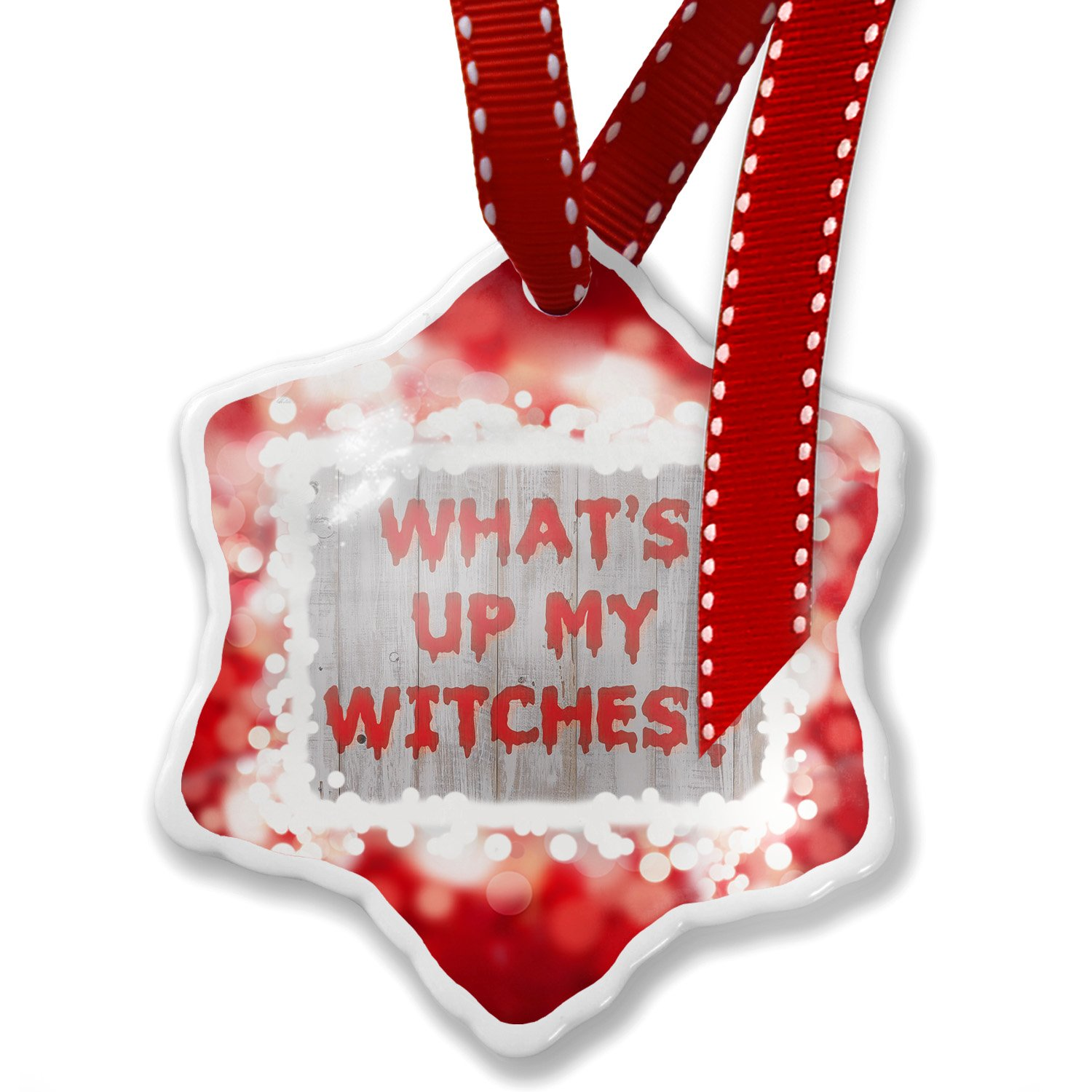 Christmas Ornament What's Up My Witches? Halloween Bloody Wall, red - Neonblond