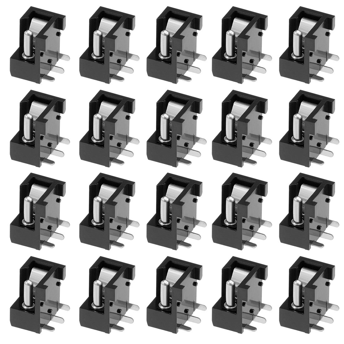 uxcell 2Pcs PCB Mount DC004 5.5mm x 2.1mm 3 Pin Audio Video DC Power Connector Socket Black