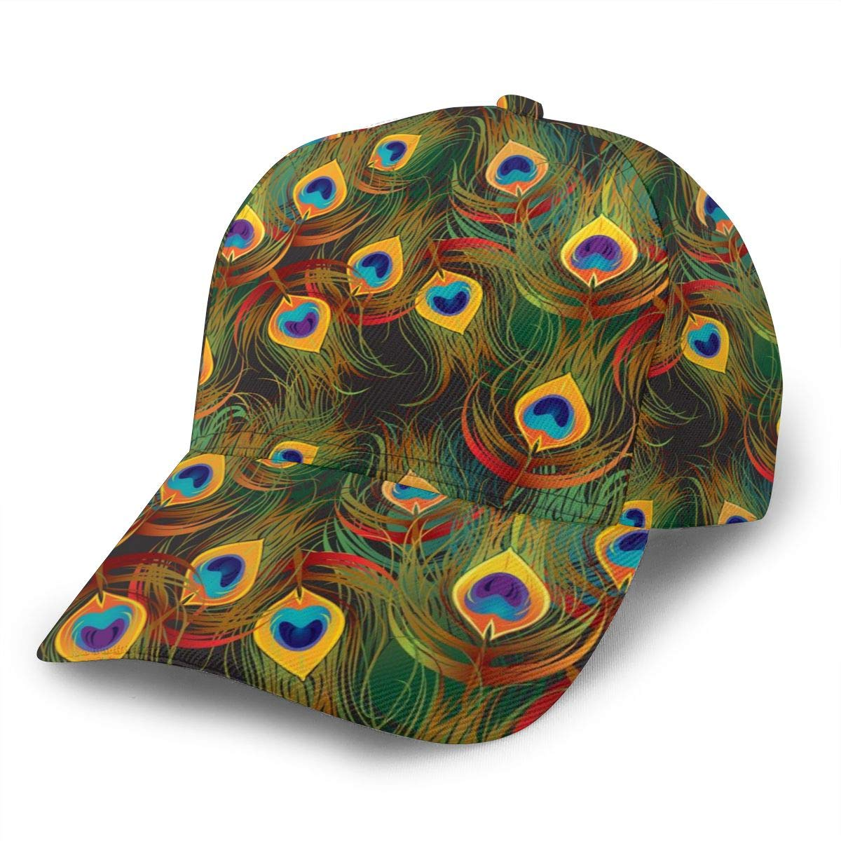 HHTZTCL Peacock Feathers Baseball Cap Adjustable Washed Cotton Dad Hat Hats Black