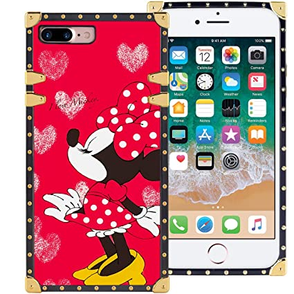 DISNEY COLLECTION Red Minnie Mouse Kiss Phone Case for iPhone 7 Plus iPhone 8 Plus 5.5 inch Shockproof and Protective Phone Cover with Classical Style