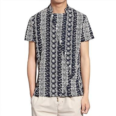 CAOQAO Camisa Hombre Manga Corta Camisa Corta del Estilo Chino de la Moda Casual Simple de los Hombres del Comercio Exterior: Amazon.es: Ropa y accesorios