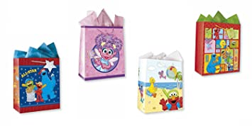 Sesame Street All Occasion Birthday Party Gift Bags Set Of 4 Large W