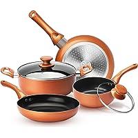 KUTIME 6pcs Cookware Set Pot and Pan Set Non-stick Frying Pans Set Ceramic Coating Soup Pot, Milk Pot, Copper Aluminum…