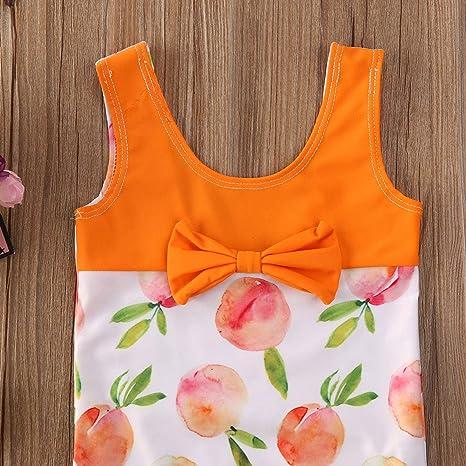 Ambabe Toddler Baby Girl Swimsuit Sleeveless Peach Printed Bowknot One-Piece Swimwear Summer Bathing Suit