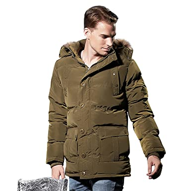 c074f38d871 Shmily Girl Men's Heavy Parka Puffer Jacket Full Length Quilted With Removable  Faux Fur Hood (