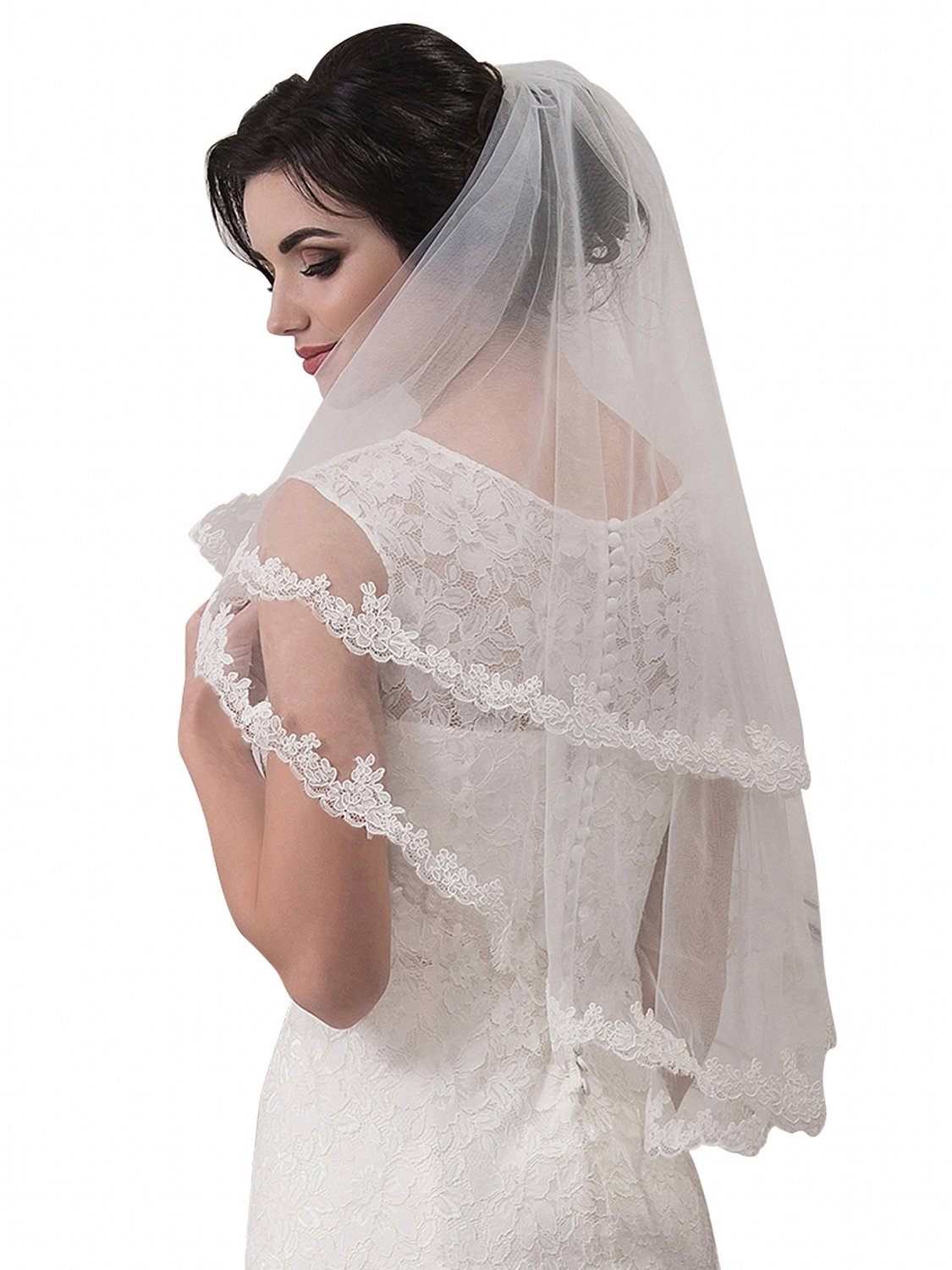 Women's Tulle Sheer Wedding Bridal Veils 2 Tier Elbow Length Wedding Veils,White