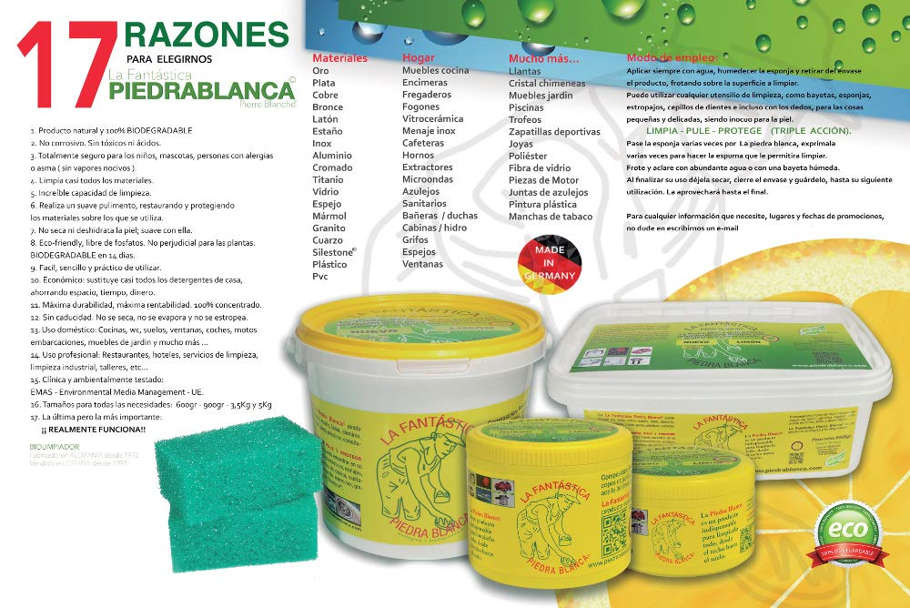 LA FANTASTICA PIEDRA BLANCA ALEMANA PIERRE BLANCHE BOTE 600 GRAMOS (LOTE 4 BOTES + 4 ESPONJAS): Amazon.es: Hogar