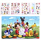 NEILDEN Disney Puzzles and Stickers, 60 Piece Jigsaw Puzzle for Kids Ages 4-8, Cute Foam Stickers Set for Toddlers and Children, Applying to Scrapbook, Teacher Reward,Party Favors (Mickey&Minnie 2)