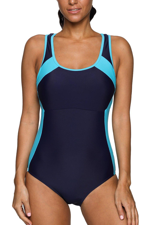d639ce2391f CharmLeaks Women's Sport Swimsuits one Piece Bathing Suit Racerback  Swimwear Athletic Swimsuits,Navy/Aqua,Medium - CLU201670 < Swimwear < Sports  & Outdoors ...