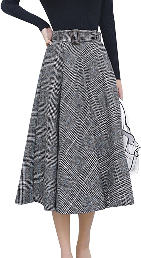 Tanming Women's Elastic Waist Belted Wool Blend Check Plaid Midi Skirt
