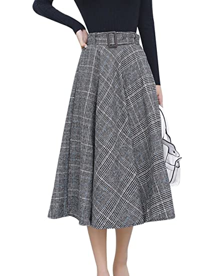 a00d64726 Tanming Women's Elastic Waist Belted Wool Blend Check Plaid Midi Skirt