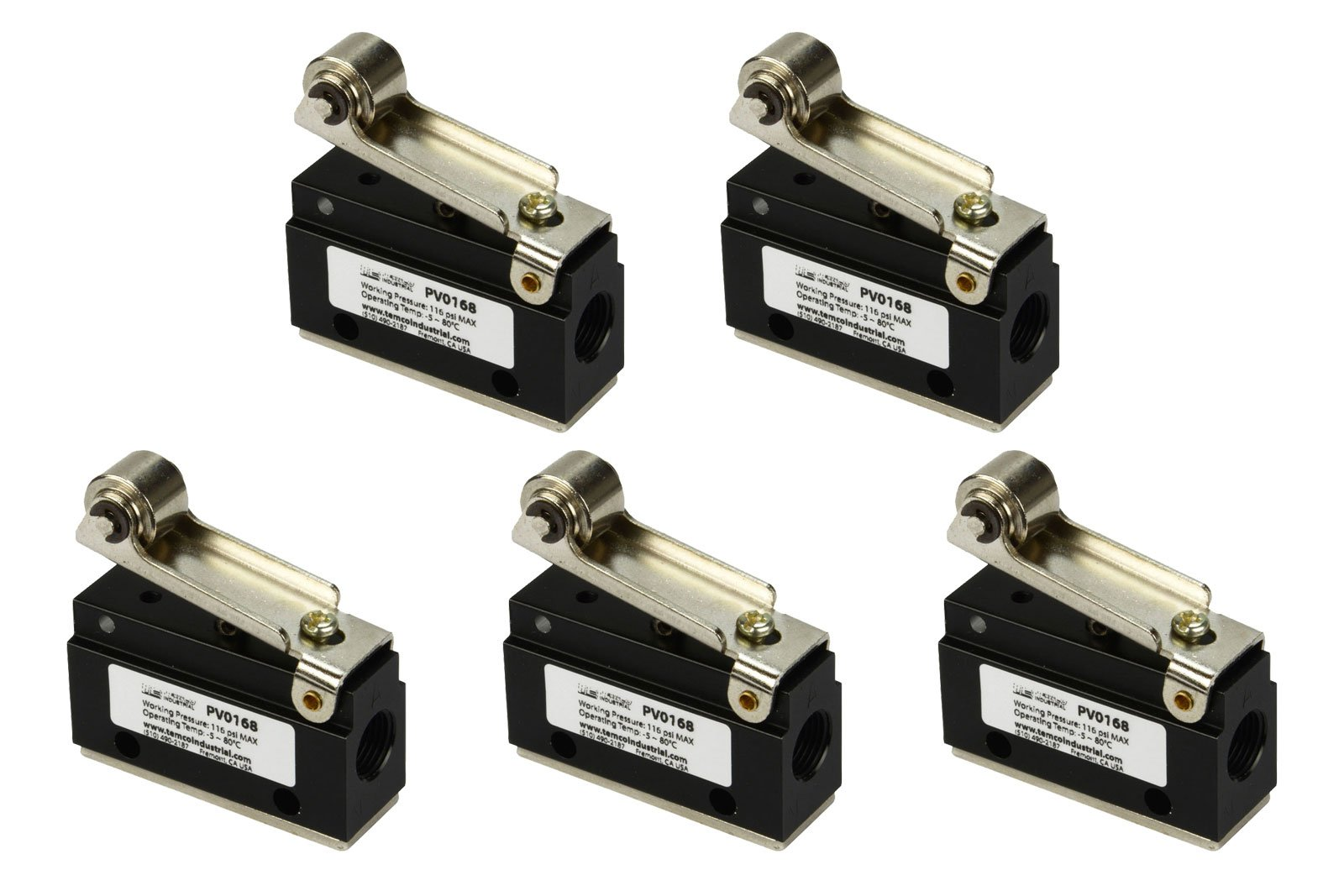 5 Qty Roller Limit Switch Normally Closed Pneumatic Air Control Valve 2 Port 2 Way 2 Position 1/8'' NPT