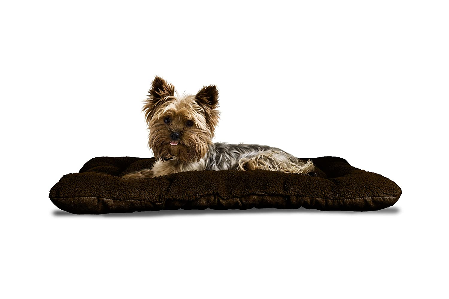 Terry Espresso 12\ Terry Espresso 12\ Fur Haven 37142081 Pet Reversible Terry and Suede Tufted Pillow Dog Bed, Terry Espresso, 12  x 18