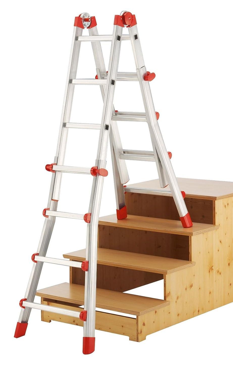 3 + 3 pelda/ños Escalera Industrial multiposici/ón 4 tramos de Aluminio Hailo ProfiStep-Multi
