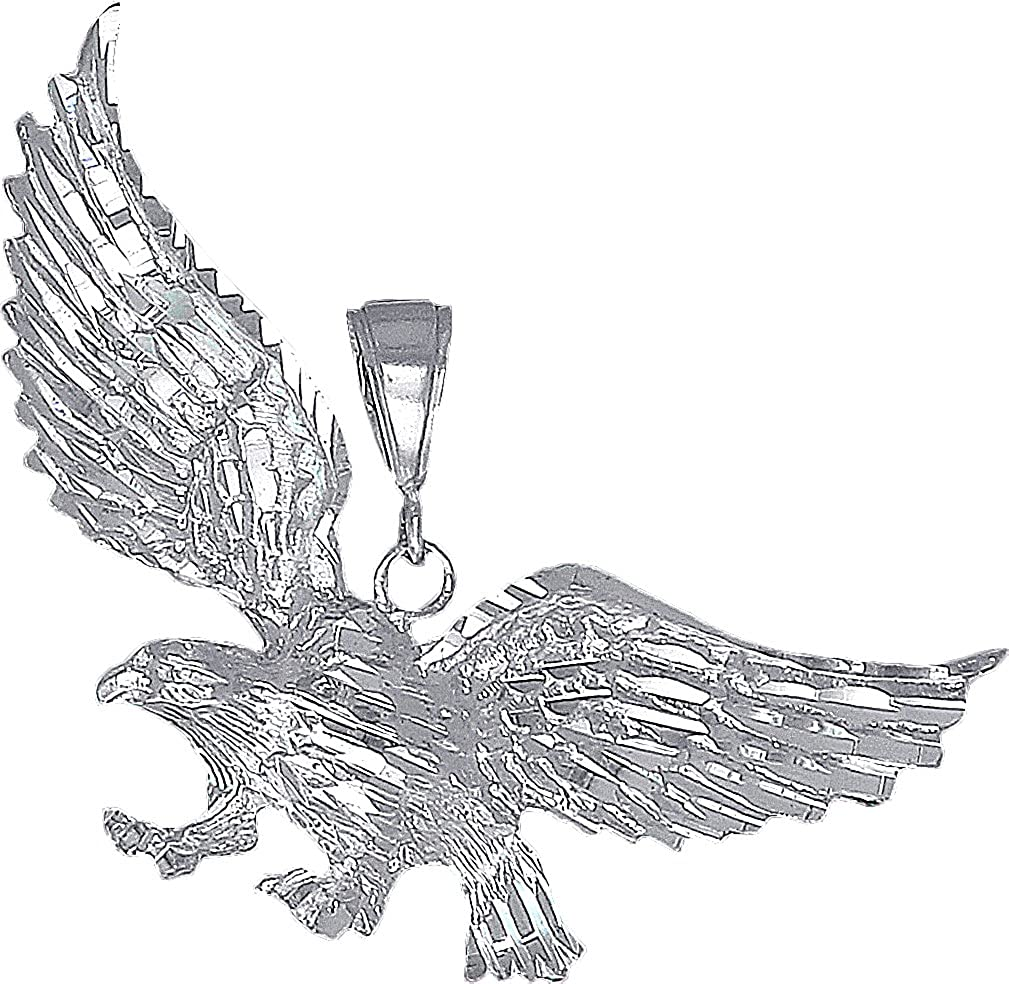 925 Sterling Silver Diamond Cut Eagle Charm and Pendant