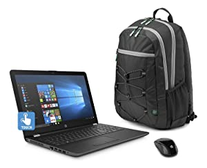 "HP 15.6"" HD Touch Screen Laptop Bundle , AMD A12-9720P Quad core processor 2.7 GHz, 8GB DDR4, 1TB HDD, DVD, WiFi, Webcam, Windows 10, Gray, Wireless Mouse and Backpack Included."