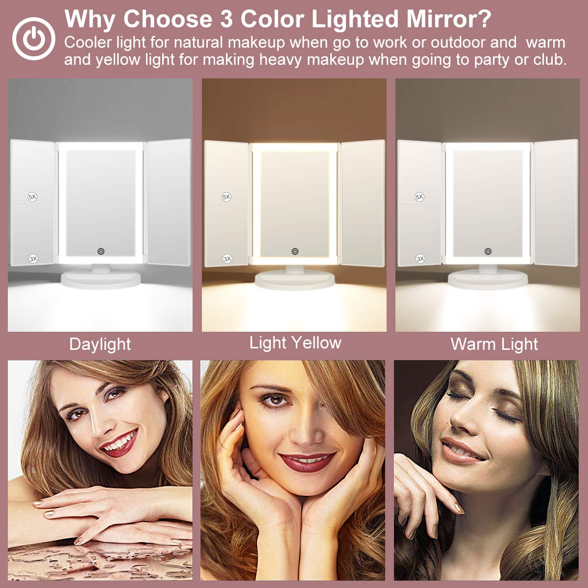 KEDSUM LED Tri-fold Lighted Vanity Mirror, 3 Color Lighting Modes Makeup Mirror with Lights, 1X 3X 5X Magnifying, 180 Degree Rotation, Lighted Vanity Mirror with 10X Pocket Mirror, Touch Control