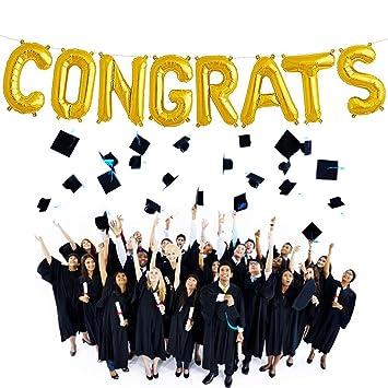 amazon com congrats balloons banner gold alphabet balloons aluminum