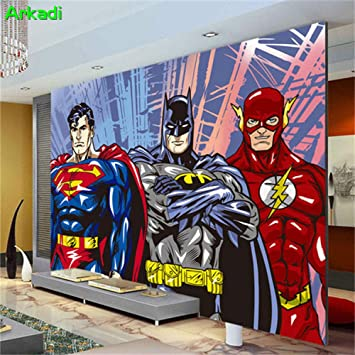 Amazon.com: Mural Wallpaper 3D Wall Mural Batman Superman ...