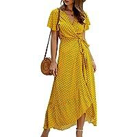 Vestido Mujer Bohemio Largo Verano Playa Fiesta Floral/Polka Dot Maxi Vestidos Cóctel Falda Larga con Cinturón