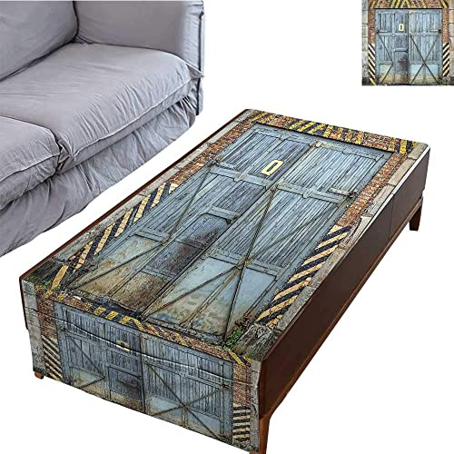 DESPKON-HOME Table Cloth Rectangular Side Pocket Design Old Aged Wooden Factory Gate with Warning Signs Industrial Change for Modern Techno 23.6 X66.9