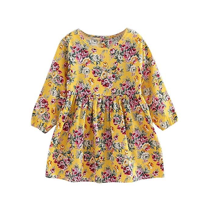 Vestido de niñas bebé Vestidos de Fiesta de Princesa de Manga Larga de niñas Vestidos de niños Camisas Blusa 3-11 Años ❤ Modaworld: Amazon.es: Ropa y ...