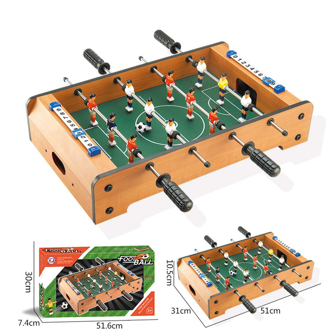 MSTQ Large Football Table Wooden Indoor Soccer Table 6 Football Table Double Battle Desktop Board Game Children Sports Toys 9 Models (618B, L) by MSTQ