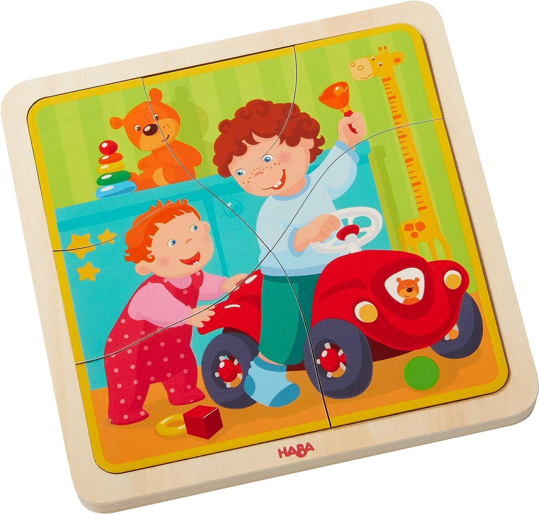 Holzpuzzle Mein Leben   Niedliches Kinderpuzzle und Motorikspielzeug ab 3 Jahren   Kleinkindspielzeug mit 4 hübschen Puzzlemotiven HaBa 303680 empfohlenes Alter: ab 3 Jahre Non Books