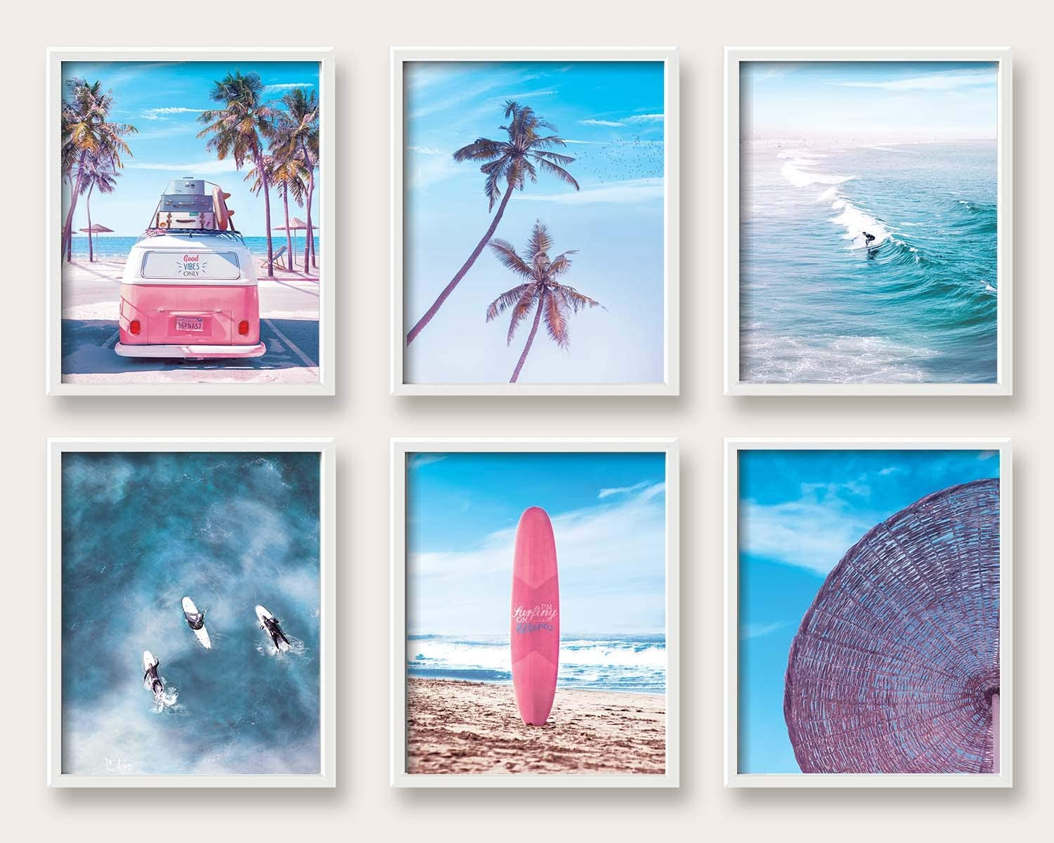 Print'N'Art, California Beach Themed Decor For Home - 8x10 Inches Unframed Set of 6, Retro VW Van, Palm Tree, Surfboard, Ocean Surfer, Parasol, Home Decorations, Wall Art Picture Print For Living Room