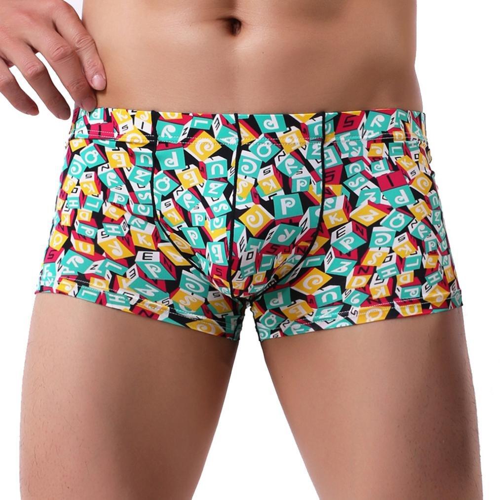 Overmal 2018 Men Patchwork Underwear Print Boxer Briefs Shorts Bulge Pouch Underpants