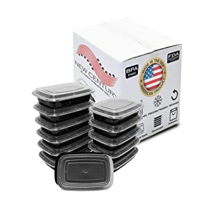 12-Pack [32 oz] 1-Compartment Food Container - Rectangular Meal Prep Bento with Lid - Portable Lunch Box - Stackable - BPA Free - Freezer/Microwave/Dishwasher Safe - Reusable Storage - USA Made